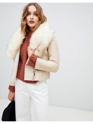 Barney's Originals jacket with faux fur collar