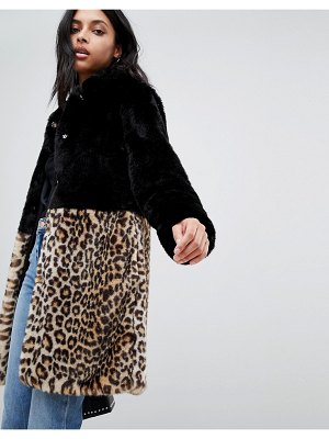 Barney's Originals leopard print color block faux fur coat