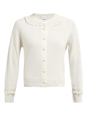 Barrie bobble and lace stitch cashmere cardigan