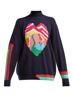 Barrie dream in space heart intarsia cashmere sweater