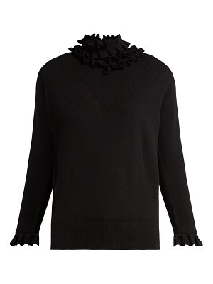 Barrie Flying Lace ruffle-neck cashmere sweater