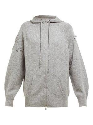 Barrie lace stitched cashmere hooded sweatshirt
