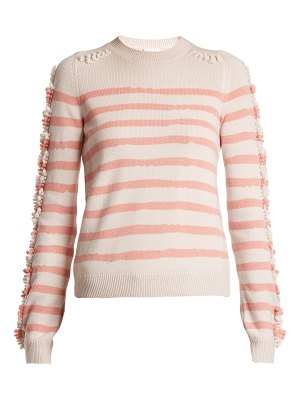 Barrie Stripe loop stitch knit cashmere sweater