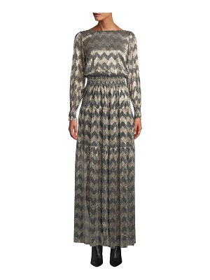 ba&sh Boat-Neck Chevron Stripe Metallic Maxi Dress