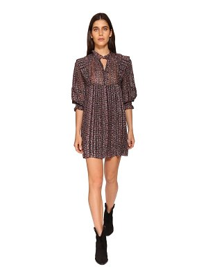 ba&sh Deep floral print silk blend mini dress
