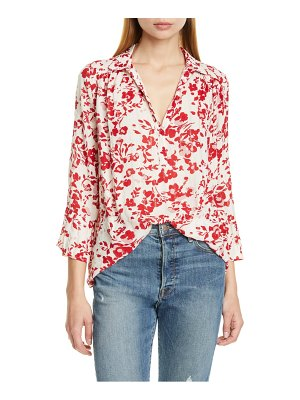 ba&sh eddy floral metallic detail split neck blouse