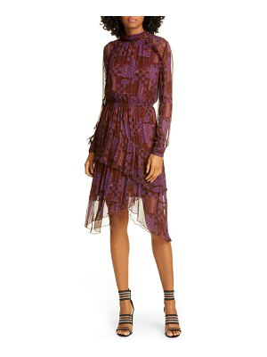 ba&sh macha geo print long sleeve tiered handkerchief hem dress