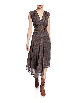 ba&sh Meryl Printed V-Neck Asymmetrical Dress