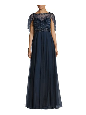 Basix Black Label Beaded Capelet Gown