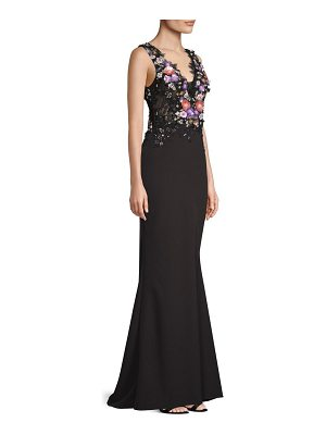 Basix Black Label beaded floral applique mermaid gown