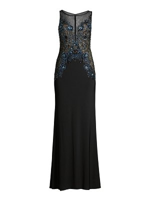 Basix Black Label beaded illusion column gown