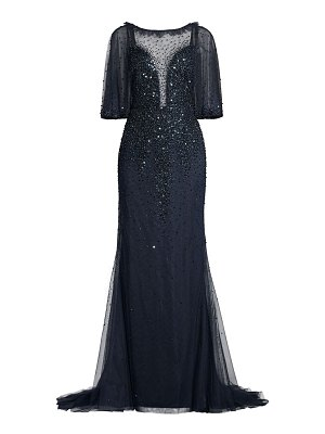 Basix Black Label beaded illusion gown