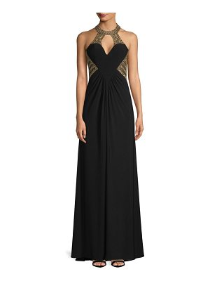 Basix Black Label beaded keyhole halter gown