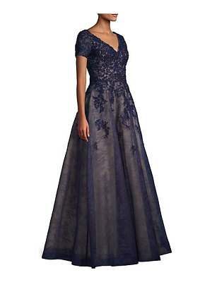 Basix Black Label beaded lace a-line gown