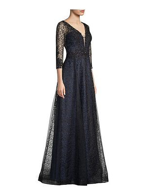 Basix Black Label deep-v lace ball gown