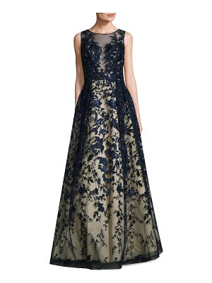Basix Black Label Embroidered Illusion Ball Gown