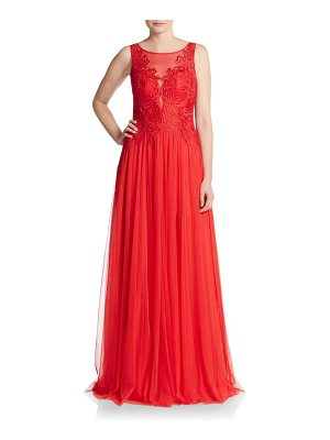 Basix Black Label Embroidered Illusion-Top Gown