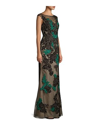 Basix Black Label floral sleeveless tulle a-line gown