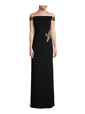 Basix Black Label hand-painted off-the-shoulder column gown
