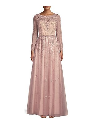 Basix Black Label long-sleeve beaded lace gown