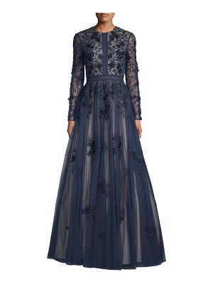 Basix Black Label long-sleeve floral a-line gown