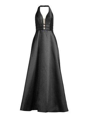 Basix Black Label mesh-panel halter gown