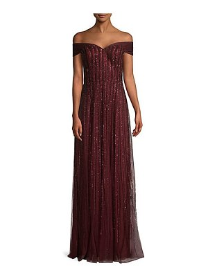 Basix Black Label off-the-shoulder beaded gown