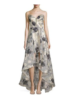 Basix Black Label off-the-shoulder high-low print gown