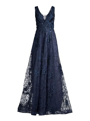 Basix Black Label sheer lace embroidered tulle gown