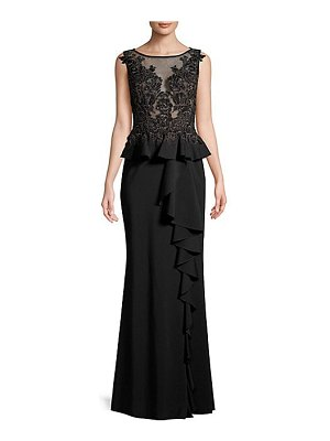 Basix Black Label sleeveless floral-lace peplum gown