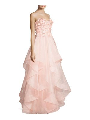 Basix Black Label strapless floral ruffle gown