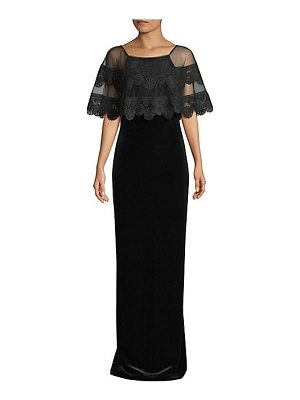 Basix Black Label velvet embroidered cape gown