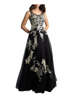 Basix Floral Embroidered Sleeveless A-Line Gown
