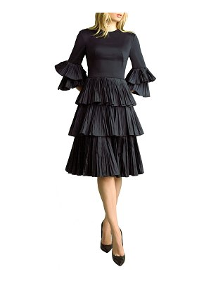 Basix Pleated Tiered Fit-and-Flare Dress