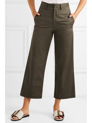 bassike cropped cotton-blend canvas flared pants