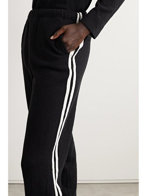 bassike net sustain canvas-trimmed waffle-knit cotton track pants