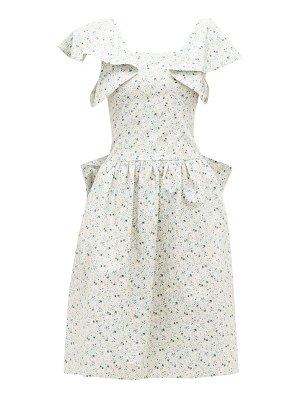 BATSHEVA bow-back floral-print cotton-poplin dress