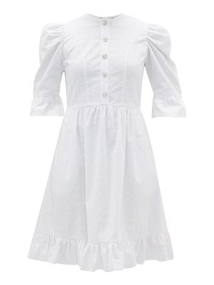 BATSHEVA crystal-button broderie-anglaise cotton dress