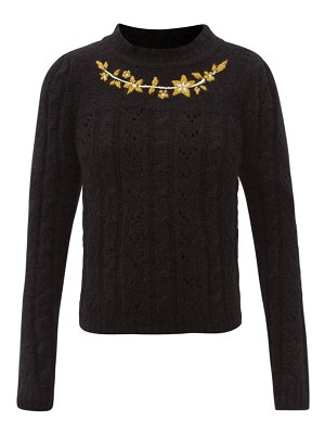 BATSHEVA floral-embroidered cabled alpaca-wool sweater