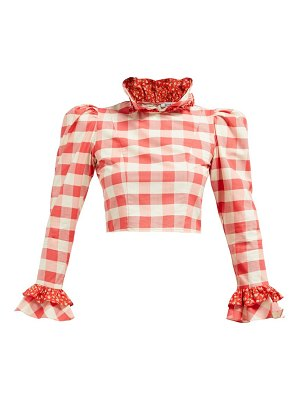 BATSHEVA gingham and floral print cotton cropped blouse