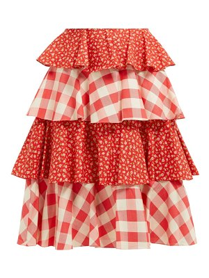 BATSHEVA gingham and floral print tiered cotton skirt