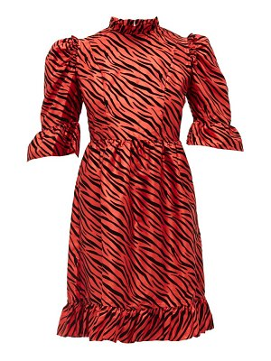 BATSHEVA kate zebra-flocked taffeta mini dress