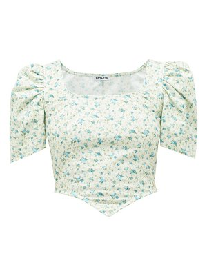 BATSHEVA square-neck floral-print cotton top
