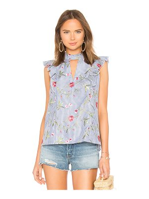 BCBGeneration Cut Out Ruffle Top In Blue Multi