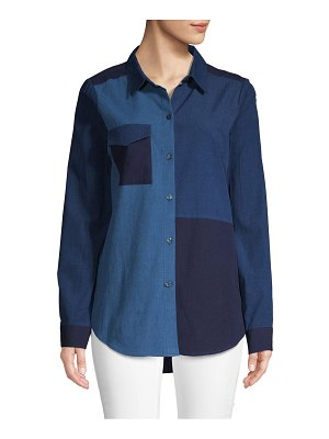 BCBGeneration Patchwork Chambray Button-Down Shirt