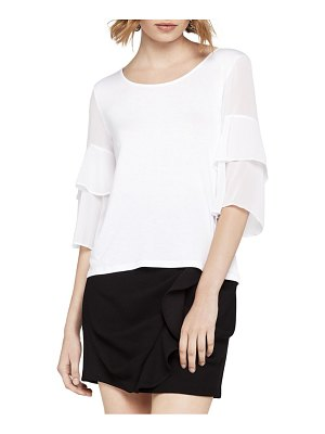 BCBGeneration Sheer Tiered-Ruffle Top