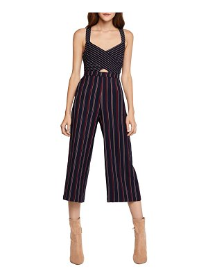 BCBGeneration Striped Mixed-Media Cropped Jumpsuit