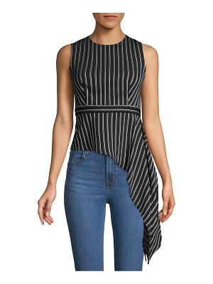BCBGMAXAZRIA Assymetric Draped Stripe Top