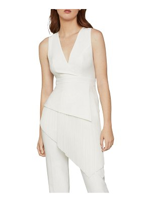 BCBGMAXAZRIA Draped Chiffon Faux Wrap Top