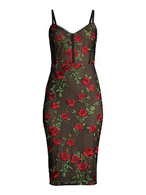BCBGMAXAZRIA embroidered rose lace cocktail dress